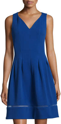 Taylor Sleeveless Pique Fit & Flare Dress, Cobalt