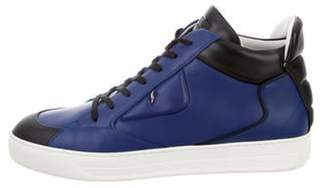 Fendi Leather High-Top Sneakers blue Leather High-Top Sneakers