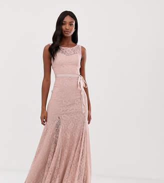 City Goddess Tall Lace Maxi Dress With Satin Belt