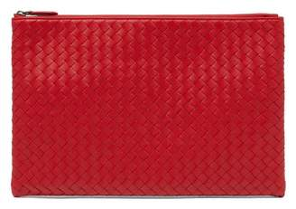 Bottega Veneta Intrecciato Leather Pouch - Womens - Red