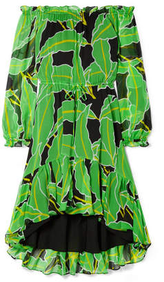 Diane von Furstenberg Camilla Off-the-shoulder Printed Silk-chiffon Dress - Lime green