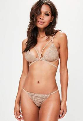 Missguided Beige Strappy Lace Triangle Bra