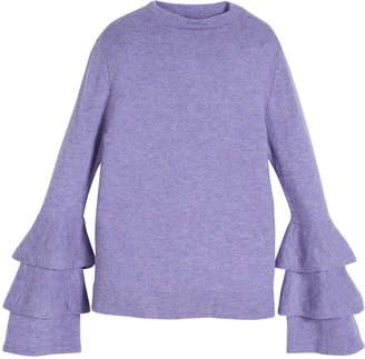 Autumn Cashmere Rib-Knit Ruffle-Sleeve Sweater, Size 8-16