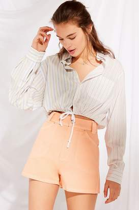 Urban Renewal Vintage Recycled Spliced Striped Button-Down Shirt
