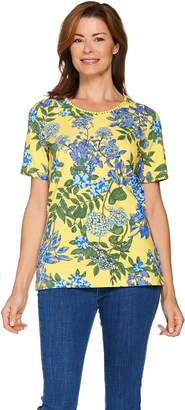 Denim & Co. Short Sleeve Floral Printed Knit Top with Lace Trim