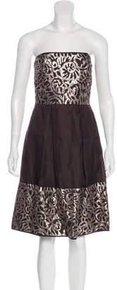Lela Rose Strapless Pleated Dress