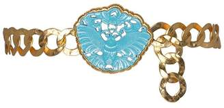 Kenneth Jay Lane Gold Link Turquoise Butterfly Belt