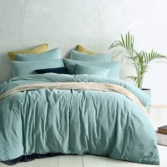 Vintage Design Homewares Cotton Velvet Quilt Cover Set, LS Green Queen