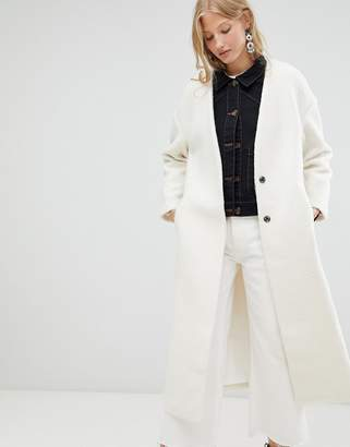 d.RA Elia Collarless Longline Duster Coat