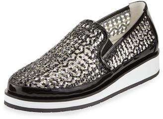 Donald J Pliner Maze Woven Leather Slip-On Sneakers, Black/Pewter