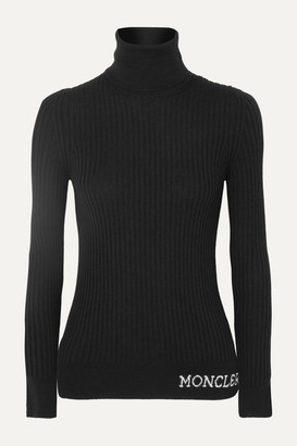 Moncler Ribbed Wool Turtleneck Top - Black