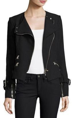 Veronica Beard Jordan Collarless Moto Jacket, Black $650 thestylecure.com
