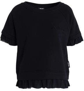 Just Cavalli Ruffled Chiffon-Trimmed Cotton-Blend Pajama Top