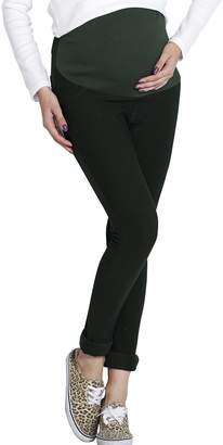 Sweet Mommy Fleece Lined Stretchy Maternity Skinny Pants DGREENM