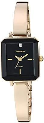 Armitron Women's 75/5595BKGP Diamond-Accented -Tone Bangle Watch