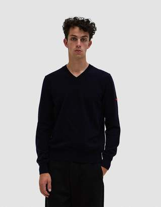 Comme des Garcons Play V-Neck Pullover in Navy