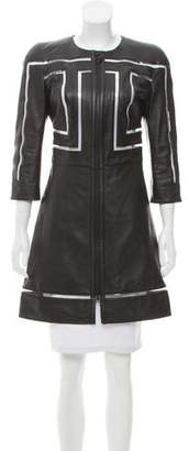 Versace Structured Leather Coat