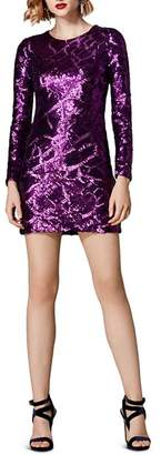 Karen Millen Sequined Croc Pattern Mini Dress