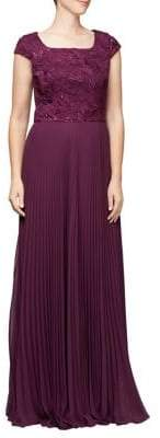 Alex Evenings Pleated Cap-Sleeve Evening Gown