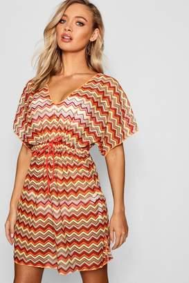 boohoo Crochet Chevron V Neck Kimono