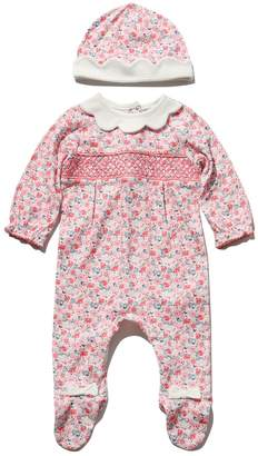 M&Co Floral smocked sleepsuit and hat set