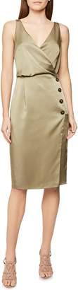 Reiss Peppa Button Detail Sleeveless Hammered Satin Dress