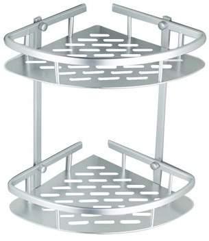 Yosoo Triangular Shower Caddy Shelf Bathroom Corner Rack Storage Basket Holder,2 Tiers Triangular Shower Caddy Shelf Bathroom Corner Rack Storage Basket Holder Silver