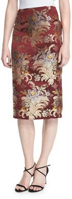 Ralph Lauren Collection Cynthia Baroque Pencil Skirt, Burgundy/Multi $1,190 thestylecure.com