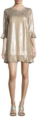 ABS by Allen Schwartz Women's Sequin Flounce Shift Dress