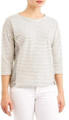 Thyme and Honey Women's 3/4 Sleeve Scoopneck Striped T-Shirt