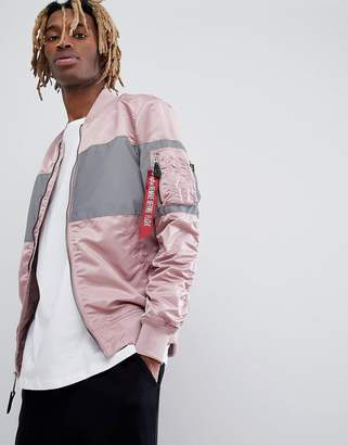 Alpha Industries MA-1 VF LW Reflective Chest Stripe Bomber Jacket Slim Fit in Pink/Silver