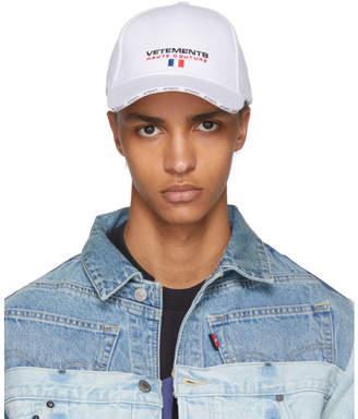 Vetements White Haute Couture Logo Baseball Cap