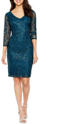 BLU SAGE Blu Sage 3/4 Sleeve Sequin Lace Sheath Dress