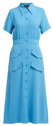 Rochas Cadi Stretch Knit Shirtdress - Womens - Blue