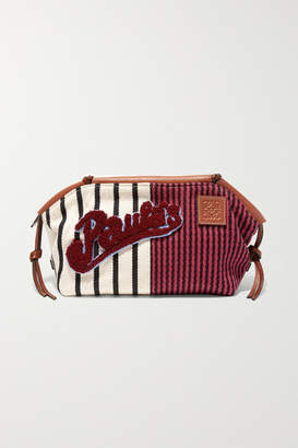Loewe Paula's Ibiza Cushion Appliquéd Leather-trimmed Striped Canvas Pouch - Burgundy