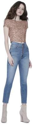 Alice + Olivia Kelli Sequin Short Sleeve Crop Top