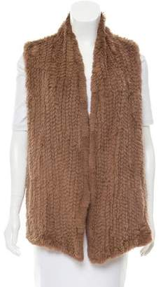June Knitted Open Front Fur Vest