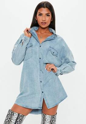 Missguided Blue Pocket Detail Denim Shirt Dress