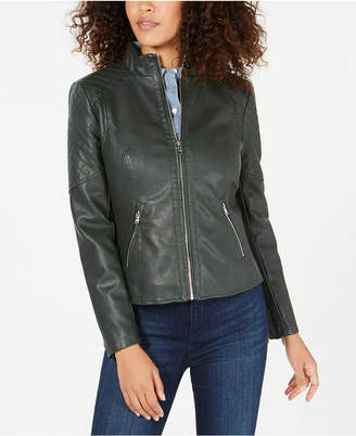 GUESS Front Zip Faux-Leather Jacket
