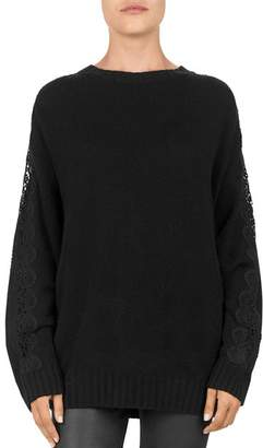 ... The Kooples Lace Sleeve Knit Sweater 8a6ba97be