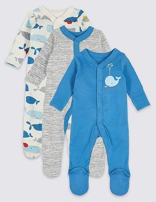 Marks and Spencer 3 Pack Whale Print Pure Cotton Sleepsuits