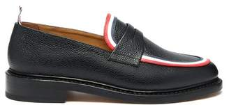 Thom Browne Tricolour Striped Pebbled Leather Penny Loafers - Mens - Black