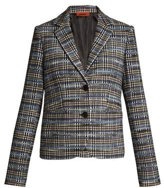 Missoni Checked Wool Blend Knit Blazer - Womens - Blue Multi