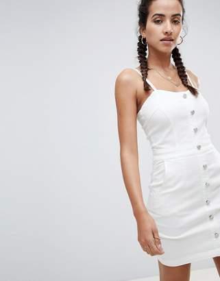 Missguided Cami Strap Button Down Denim Dress