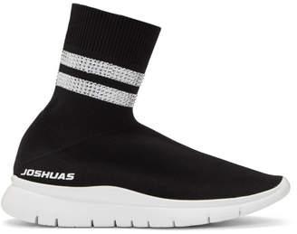 Joshua Sanders Black Two Band Rhinestone Sock Sneakers