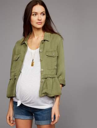 Peplum Cotton Woven Maternity Jacket
