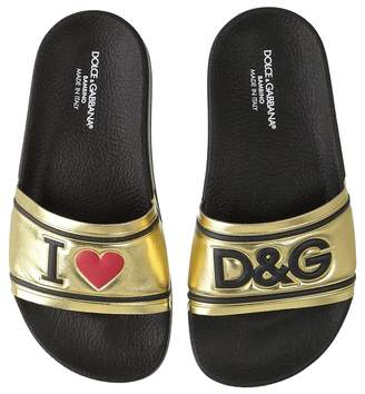 Dolce & Gabbana Gold Slide Girls Shoes