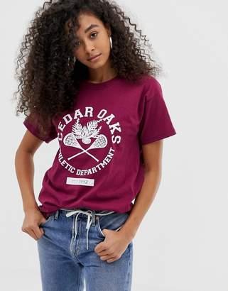 Daisy Street relaxed t-shirt with vintage cedar oaks print