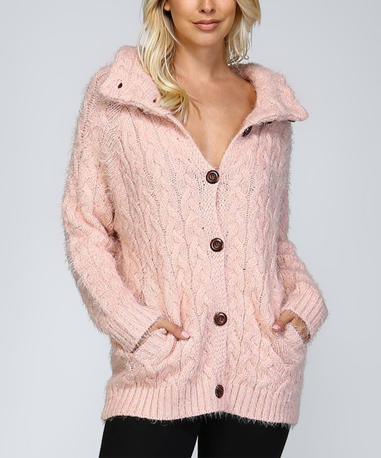 Pink Cable Knit Button-Up Cardigan