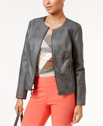 Alfani Faux-Leather Quilted-Trim Jacket, Only at Macy's $99.50 thestylecure.com